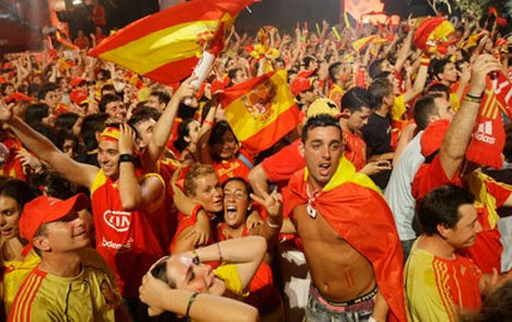 Spain Football Fans Cheering Their Country In World Cup Events